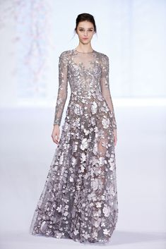 Elegant Antique Silver Metallic Lace Evening Gown with a Scalloped V Neckline by Ralph and Russo Spring 2016 Couture