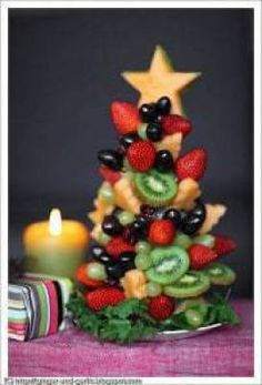 Edible Christmas fruit tree and a wish for a very Happy Holidays! : Edible Christmas fruit tree and a wish for a very Happy Holidays! Fruit Christmas Tree, Christmas Party Food, Christmas Brunch, Christmas Appetizers, Christmas Breakfast, Breakfast For Kids, Christmas Desserts, Christmas Treats, Holiday Treats
