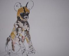 African Wilddog, Copics und Aquarellfarbe - Kleckerlabor