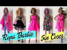 Cómo hacer Ropa para Barbie ¡Sin coser! VESTIDOS, FALDA, TOP Y CHALECO. Recopilatorio - YouTube