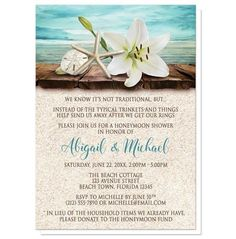 I wanted to share with you these Lily Seashells Sand Beach Honeymoon Shower Invitations? Do you like them?  | Honeymoon Shower invitations with a beach or tropical theme, for the couple destined to raise money for their dream honeymoon. Floral beach theme Honeymoon Shower invitations with an elegant white lily, a starfish, and a sand dollar on a rustic wood dock overlooking the open water, and your wedding honeymoon shower celebration details printed in dark brown and teal over a beige sand…