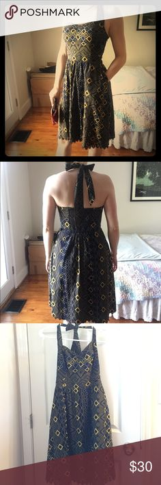 Beautiful Navy Yellow Anthro Halter Dress This is a gem of a dress from Anthropologie. Intricately patterned, lined, with a gorgeous crocheted hem. And pockets! Can be dressed up for date night or light and breezy for a summer picnic. Worn twice and in excellent condition. I'm sad to see this one go, but happy for whoever snags it! 100% cotton. Edme & Esyllte Dresses Midi