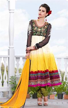Wonderfull Cream and Yellow Color Churidar Kameez Set HSPAZZ1107 - www.indianwardrobe.com