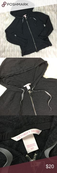 """Victoria's Secret Zip Up Hooded Jacket Sz S Gray 🔸 Victoria's Secret Zip Up Hooded Jacket Sz S Dark Gray🔸angel wings on the back complete 🔸armpit to armpit 16""""🔸vertical length 22""""🔸shoulder length 21""""🔸Excellent Pre-Loved Condition 🔸NO FLAWS 🔸questions welcomed 🔸reasonable offers always accepted on & combined shipping available on bundles🔸as seen in pictures 🔸thank you for shopping with thrifty_nerd 🔸SKU C3 Victoria's Secret Jackets & Coats"""