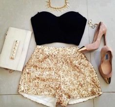 date night outfit #goldshorts