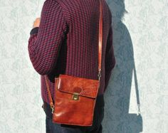Small leather crossbody bag. Brown leather saddle by InnesBags
