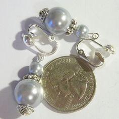 CLIP ON 1 in GRAY Glass Pearl Handmade Non-Pierced Dangle Drop Earrings Z345 #Handmade #DropDangle