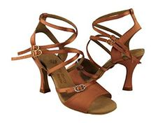 "Amazon.com | Ladies Latin Ballroom Party Party PP202 Tan Satin 3"" Heel (5M) | Ballet & Dance"