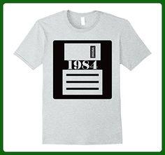 Mens Original 1984 Birthday a save button of life funny T-Shirt 2XL Heather Grey - Birthday shirts (*Amazon Partner-Link)