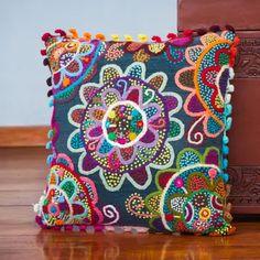 Colourful Cushions, Scatter Cushions, Cushions On Sofa, Blue Throw Pillows, Diy Pillows, Decorative Throw Pillows, Accent Pillows, Cushion Embroidery, Patchwork Cushion
