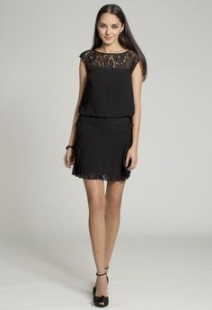 Short Dresses - Pleated Lace Blouson Dress from Camille La Vie and Group USA