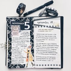 """""""Nov 5 & Nov 6 entries for #journalingsage prompts. I've been buying a lot of colorful washi tape, but prefer simple b&w layouts. Why is this?! #journal…"""""""