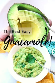 This easy and delicious Guacamole uses simple pantry ingredients to create a flavor and texture-rich party dip, appetizer, or Mexican-food garnish! Authentic Guacamole Recipe, Best Guacamole Recipe, Homemade Guacamole, Vegan Lunches, Vegan Snacks, Vegan Potluck, Vegan Appetizers, Vegan Foods, Diet Foods