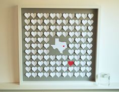 Unique Wedding Guestbook 3D Hearts and State by HeartworkMemories on etsy.com, $195.00
