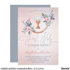 catholic girl first communion flowers decor invitation