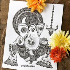 doodle art creative ~ doodle art ` doodle art journals ` doodle art for beginners ` doodle art easy ` doodle art drawing ` doodle art patterns ` doodle art creative ` doodle art cute Mandala Doodle, Mandala Art Lesson, Mandala Artwork, Mandala Painting, Lord Ganesha Paintings, Ganesha Art, Ganesha Drawing, Ganesha Sketch, Ganpati Drawing