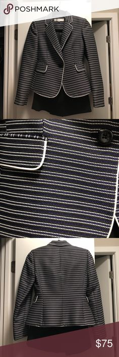 Tahari Skirt Suit Size 0P Tahari Skirt Suit Size 0P. In perfect condition! Just got a new job where dress code is much more casual and suits are no longer needed. Black, white and purple stripes on blazer, black skirt Tahari Jackets & Coats Blazers