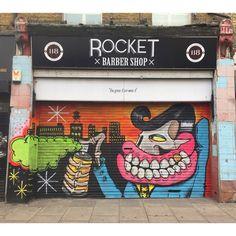 @thesweettoof / on the front shutters of my barbers (But the Stoke Newington @rocketbarbershop , not the Bethnal Green one) #rocketbarbers  #londonstreetart #streetart #artist #londongraffiti #streetphotography #streetlife #londonstreetlife #london #streetartlondon  #artist #art