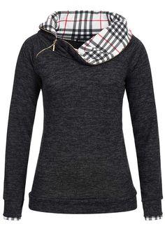 Styleboom Fashion Damen Pullover Turtle Neck Zipper Karo Muster schwarz melange - 77onlineshop