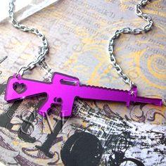 Love and War  gun necklace in purple mirror laser by EssemDesign, $14.99