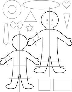 Patrón o molde para hacer una muñeca o muñeco de fieltro