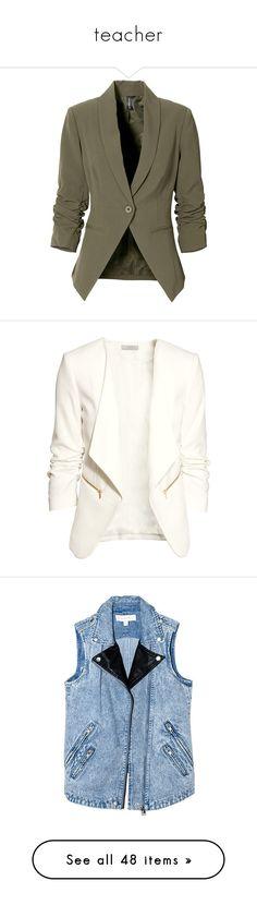 """teacher"" by adele-adik ❤ liked on Polyvore featuring outerwear, jackets, blazers, blazer, coats, tops, blazer jacket, stretch jacket, brown blazer and stretch blazer"