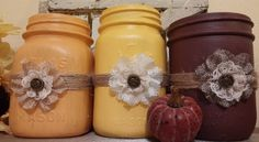 Burlap Flowers on Fall Colored Jars.  Yellow, Burgundy, and Orange Paint with twine trim. Autumn or Fall decor. Shabby Chic or Country Decor by TheAtticShelf on Etsy