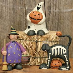 Witch Girl with Ghost and Black Cat Halloween Figurine Set
