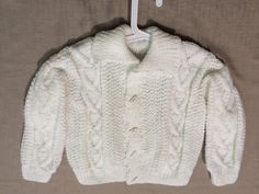 Aran Sweater Hand-Knit Made In Ireland White by TheCraftyShamrock Hand Knitting, Ireland, Irish, Knit Crochet, Men Sweater, Unisex, Fitness, Sweaters, How To Make