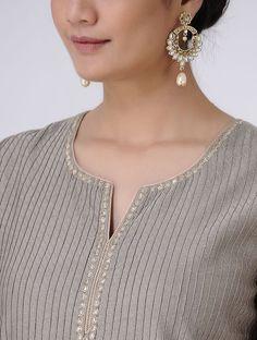 Grey-Golden Gota Patti Embroidered Zari Pintuck Chanderi Kurta Chudidhar Neck Designs, Neck Designs For Suits, Neckline Designs, Designs For Dresses, Dress Neck Designs, Silk Kurti Designs, Kurti Designs Party Wear, Kurta Designs Women, Salwar Designs