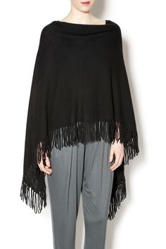 100% cashmere fringe trimmed black poncho pullover sweater. Pair with jeans for a casual day look. Ruana Poncho by Minnie Rose. Clothing - Sweaters - Cashmere Clothing - Sweaters - Ponchos & Capes Pennsylvania