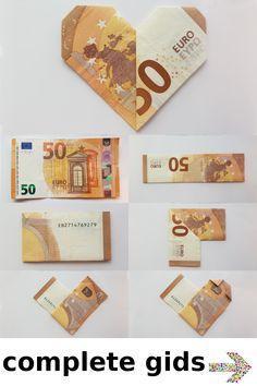 Folding a heart out of a banknote - it's that easy - tutorial - Geldscheine falten - Origami mit Geldscheinen - Hochzeit Origami Simple, Useful Origami, Origami Tutorial, Origami Easy, Origami Owl, Anniversary Surprise, Anniversary Gifts, Don D'argent, Paper Ninja Stars