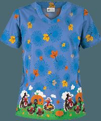 UA Turkey Time Ceil Print Scrub Top