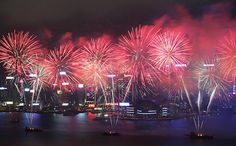 Lunar New Year fireworks, celebrating the Year of the Snake, seen from Harbour City, Tsim Sha Tsu, light up Victoria Harbour on Monday. Photo: Nora Tam
