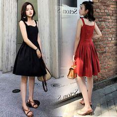 새로운 2017 여름 새로운 도착 여성 높은 허리 단어 어깨가 얇은 민소매 드레스 브라 끈이 작은 검은 드레스였다 드레스