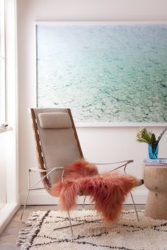 Major Mitchell's Icelandic Sheepskin, Beni Ourain rug and Rockpool Photographic Print