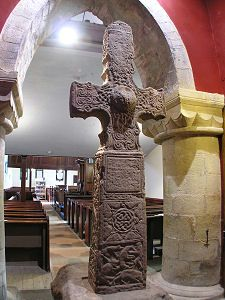 This is the rear face of the Dupplin Cross, which stands nearly 3m high.  Until 1999 it stood on a hillside overlooking the site of a Pictish royal palace at Forteviot.  It has now been placed in one of Scotland's oldest complete parish churches, St. Serf's Church, which was built about 1200 in the village of Dunning, Perthshire.
