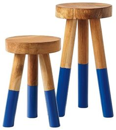 Dip-Dyed Stool, Cobalt - contemporary - Bar Stools And Counter Stools - Serena & Lily