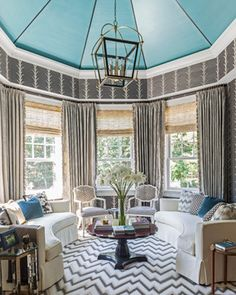 Add in a stripy pattern carpet??  2013 Hamptons Showhouse - traditional - living room - new york - Hartmann&Forbes