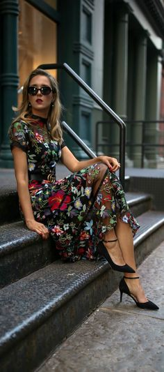 Click for outfit details!  Floral print embroidered midi dress, leather waist belt, ankle strap pumps, mini shoulder bag, cat eye sunglasses, pearl drop earrings {Anthropologie, Gucci, Sam Edelman, Marc Jacobs, fall winter 2017 trends, fall trends, fashio