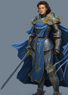 f Fighter Champion noble Plate Armor Cloak Greatsword Traveler lg Fantasy Female Warrior, Female Armor, Female Knight, Fantasy Rpg, Female Character Concept, Character Art, Character Portraits, Character Outfits, Fantasy Characters