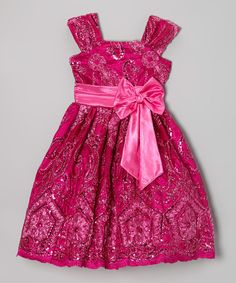 Take a look at the Fuchsia Floral Sequin A-Line Dress - Infant, Toddler & Girls on #zulily today!