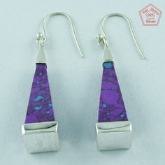 Purple Turquoise Stone 925 Sterling Silver Fashionable Design Earrings E2871 #SilvexImagesIndiaPvtLtd #DropDangle