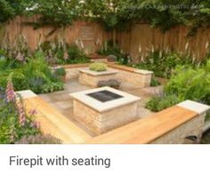 Fire pit and matching planter and  .  lots of seating