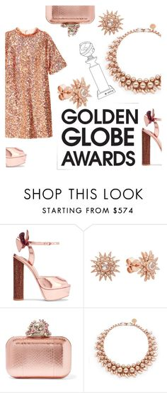 """""""rose globe awards"""" by janesmiley ❤ liked on Polyvore featuring Sophia Webster, Kenza Lee, Jimmy Choo, Ellen Conde and H&M"""