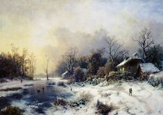 Bild:  August Piepenhagen - Winterlandschaft mit gefrorenem Teich.