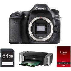 Buy Canon EOS 80D 24.2 MP CMOS DSLR Camera Body Pro-100 Printer & 64GB Card Bundle