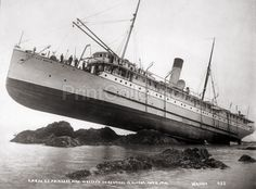 "S.S. Princess May wrecked on August 5, 1910, by photographer W. H. Case (WIlliam Howard). Photo caption reads ""C.P.R.Co. S.S. Princess may wrecked on Sentinel Is., Alaska, August 5, 1910""."