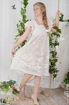 """Платья ручной работы. """"Леля"""" вязаное платье в деревенском стиле. Дар'Я - стильная вязаная одежда. Интернет-магазин Ярмарка Мастеров."""