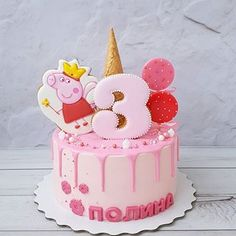 Cupcakes birthday cake girl peppa pig 47 ideas for 2020 Peppa Pig Birthday Decorations, Peppa Pig Birthday Cake, Birthday Cake Girls, Birthday Cupcakes, 3rd Birthday, Tortas Peppa Pig, Bolo Da Peppa Pig, Cumple Peppa Pig, Peppa Pig Cakes